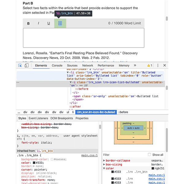 chrome developer's tools
