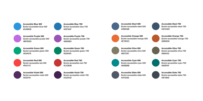 Learnosity accessible color palette